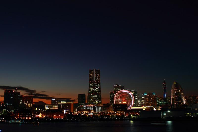 Yokohama în Japonia noaptea